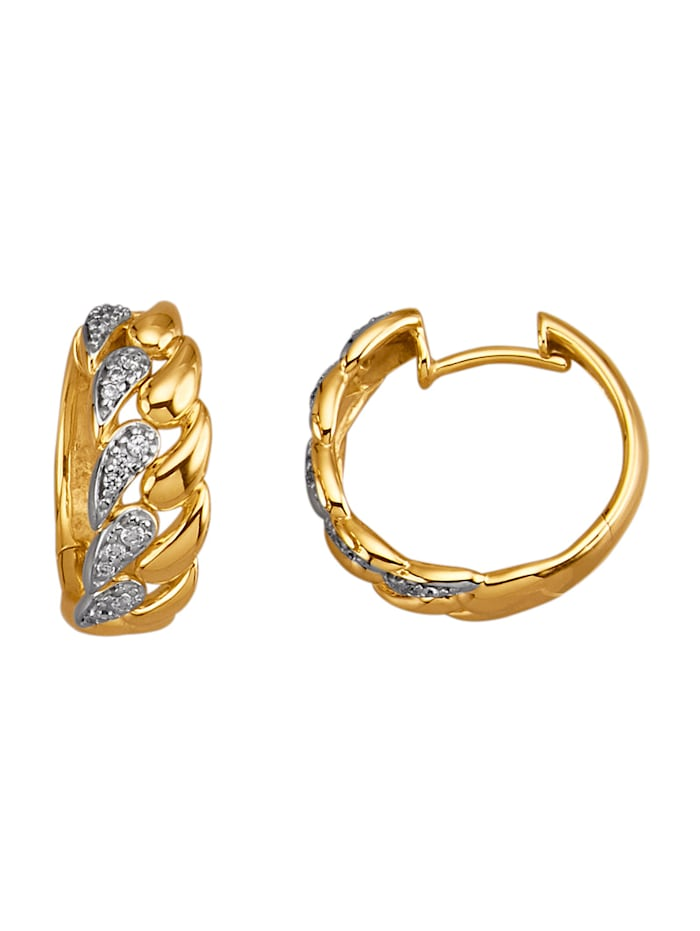 Amara Diamants Créoles avec brillants, Coloris or jaune