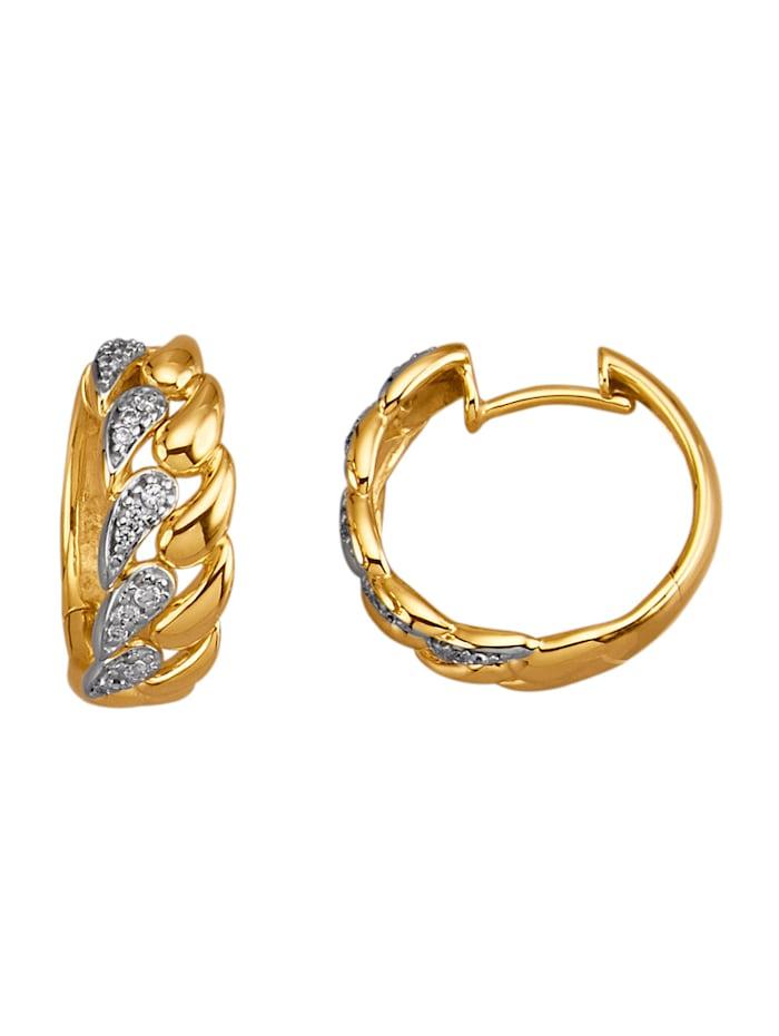 Diemer Diamant Klappcreolen mit Brillanten, Gelbgoldfarben