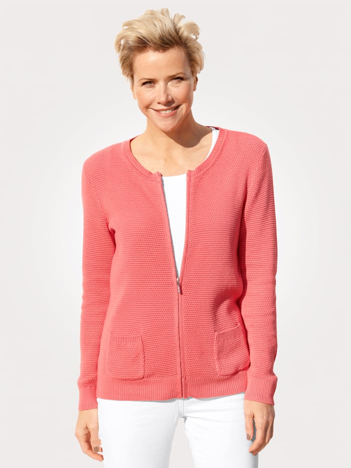 MONA Cardigan made from pure Pima cotton, Coral