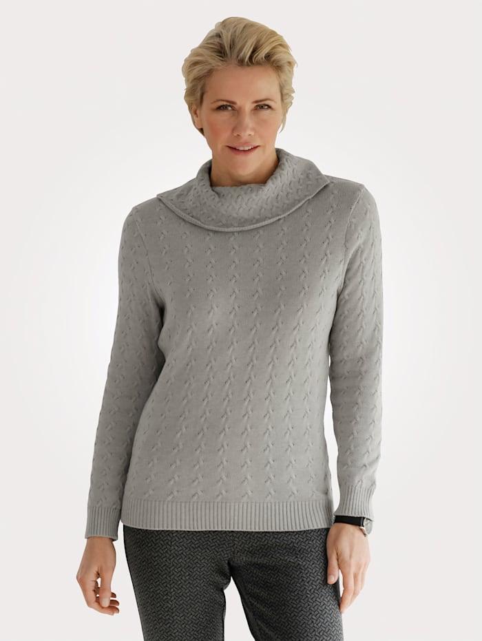 MONA Pullover mit Zopfstrickmuster, Grau