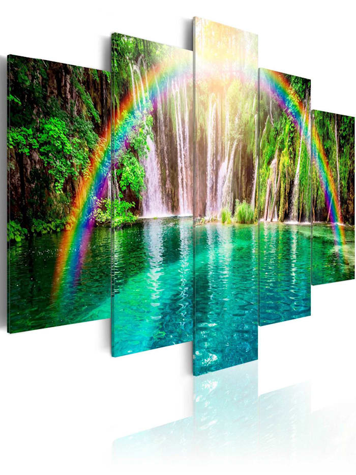 artgeist Wandbild Rainbow time, Grün,Türkis