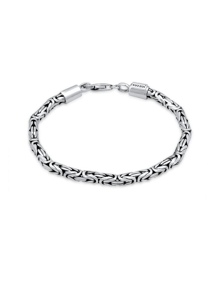 Kuzzoi Armband Basic Männer Königskette Robust Massiv 925 Silber, Grau
