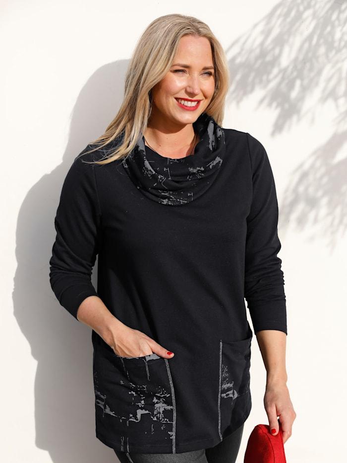 MIAMODA Sweatshirt mit halsfernem Kragen, Schwarz