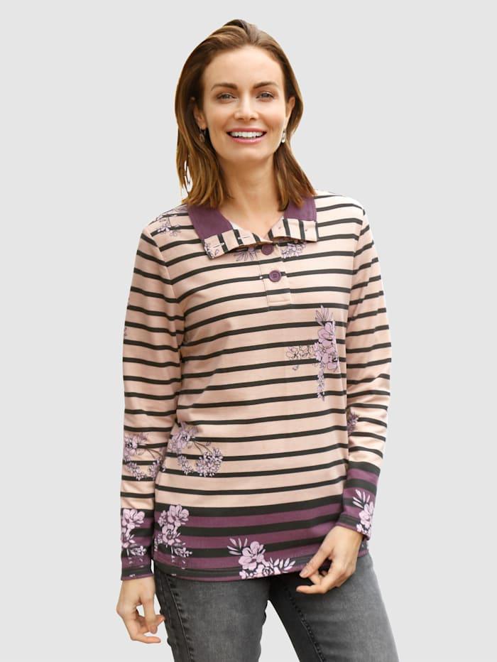 Paola Sweatshirt im Streifen-Dessin mit Blumen, Hellbraun/Dunkellila