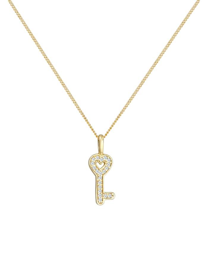 Halskette Schlüssel Elegant Diamant (0.1 Ct.) 585 Gelbgold