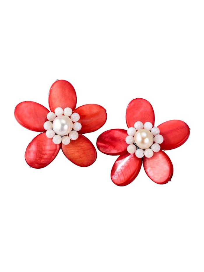 Blomformade clipsörhängen, röda, Röd