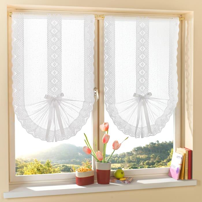 Home Wohnideen Jaquard-gardinkappe med satengbånd, hvit