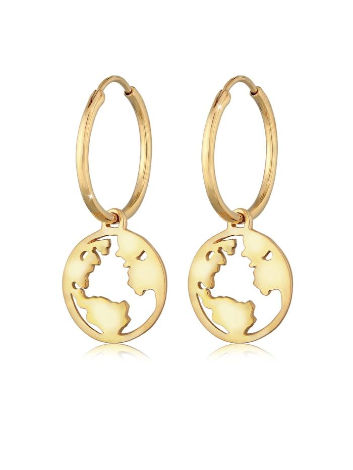 Elli Ohrringe Hänger Weltkugel Globus Reisen Trend 925 Silber, Gold