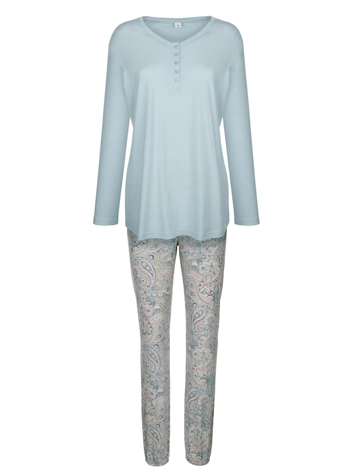 Simone Pyjama met fraaie bloemenprint, hemelsblauw