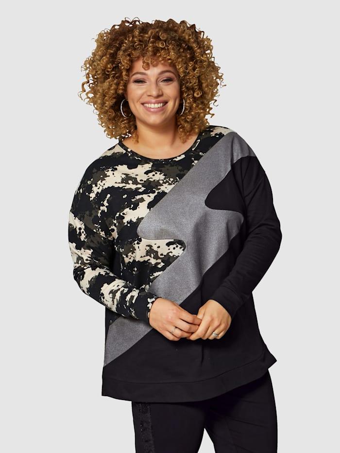 Angel of Style Sweatshirt in patchworklook, Zwart/Kaki