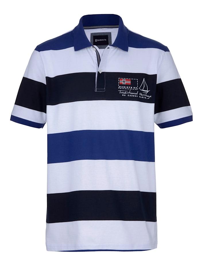 BABISTA Poloshirt van comfortabele single jersey, Wit/Blauw