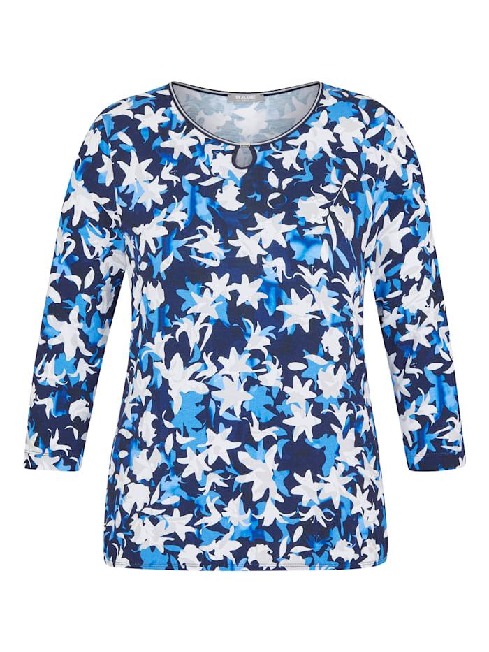 Rabe Shirt mit floralem Muster und Glitzerdetails, MARINE