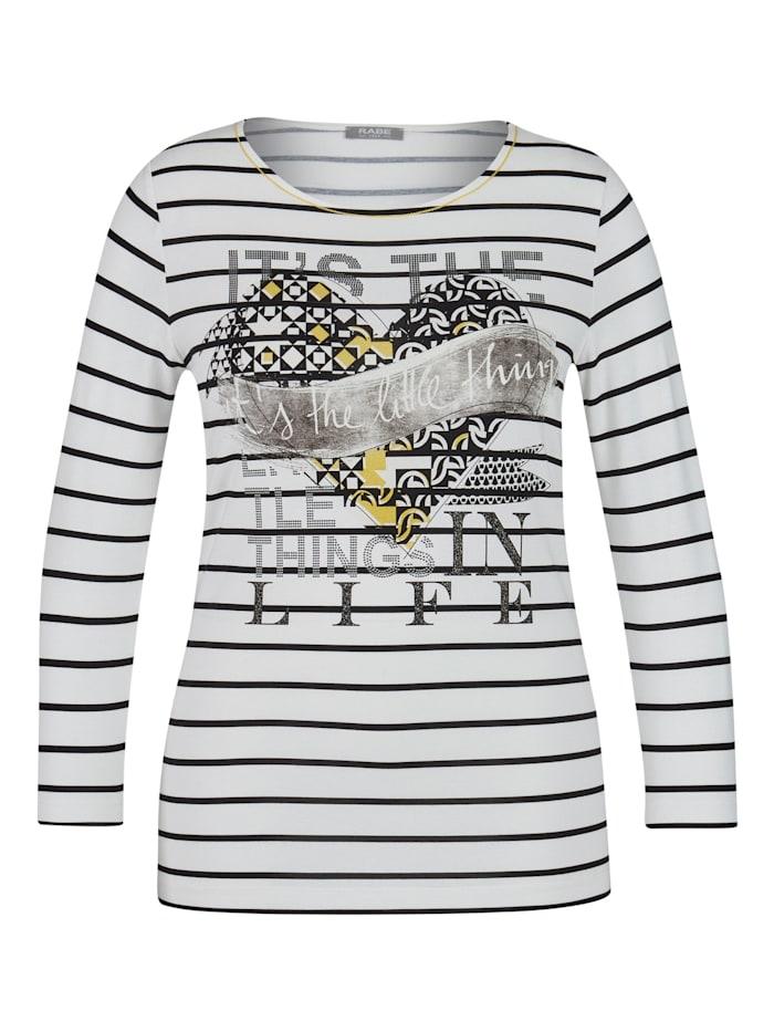 Rabe Shirt mit Front-Print und Ziersteinchen, NATUR