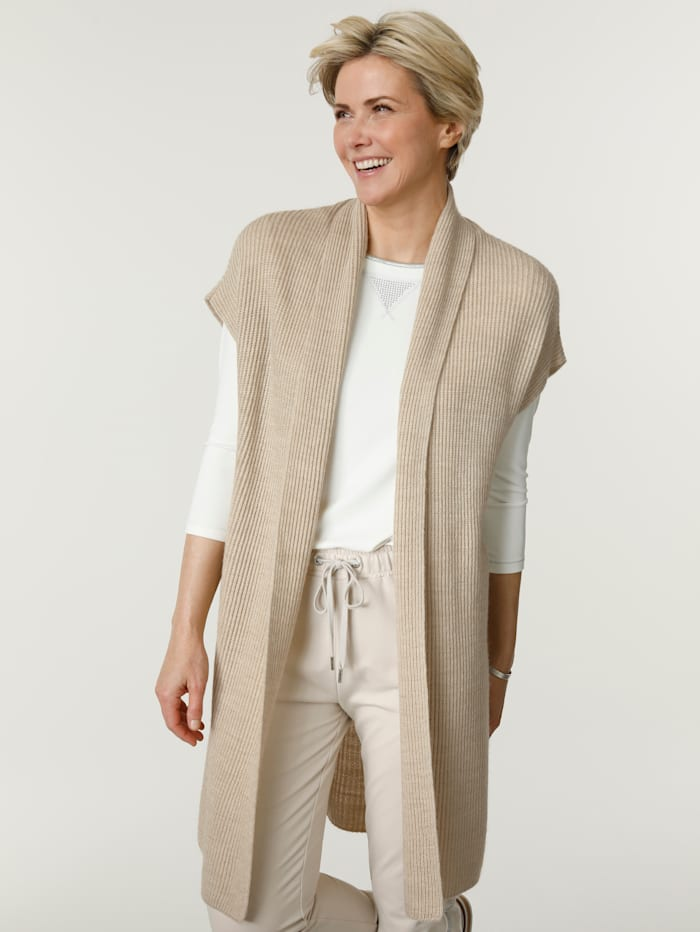 MONA Knitted gilet with a touch of wool, Sand