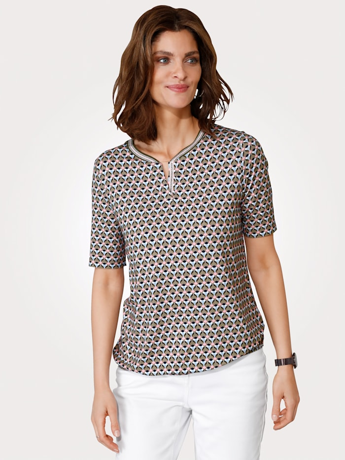 Rabe T-shirt en viscose mélangée confortable, Vert jonc/Rose