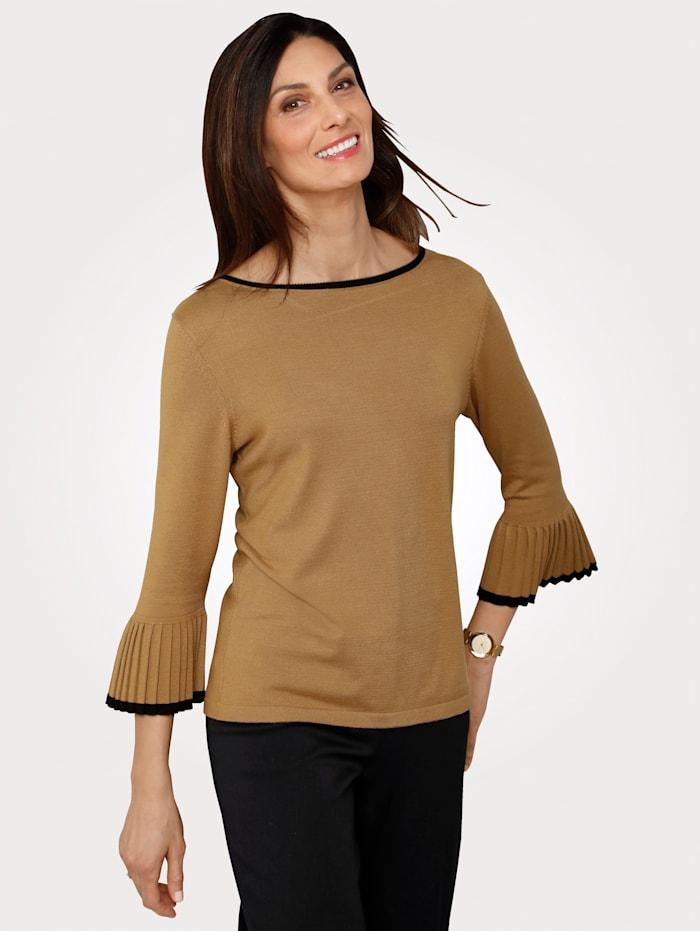 MONA Pullover mit Plissee-Ärmeln, Camel