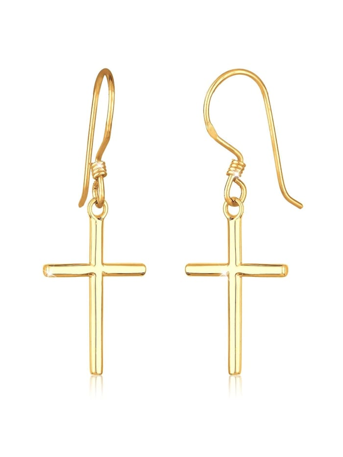 Elli Ohrringe Kreuz Religiös Taufe Kommunion Silber, Gold
