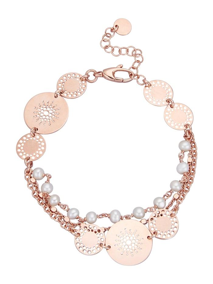 """Bracelet """"Attrape-rêves"""" avec perles de culture d'eau douce, Rose"""