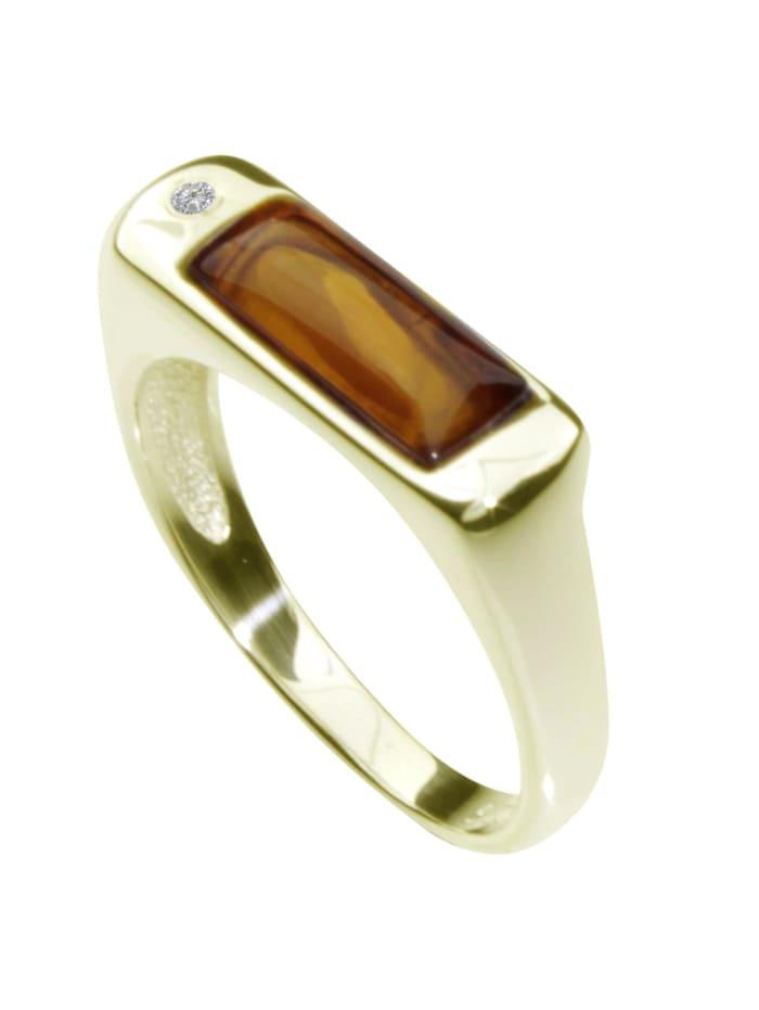 OSTSEE-SCHMUCK Ring - Sylvia - Gold 333/000 - Bernstein/Brillant, gold
