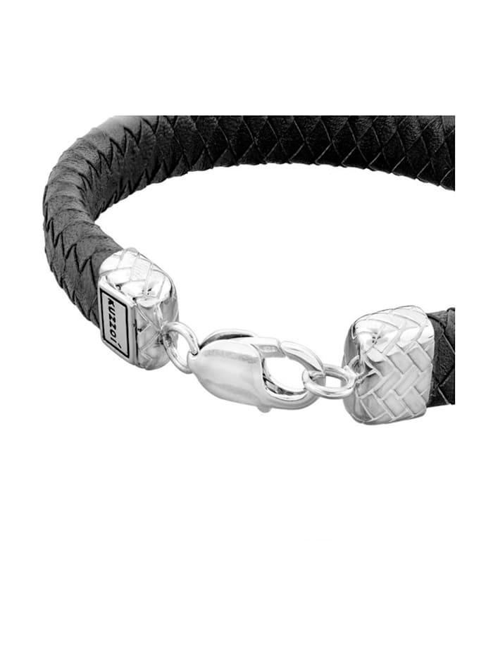 Armband Herren Lederband Karabiner Geflochten 925Er Silber