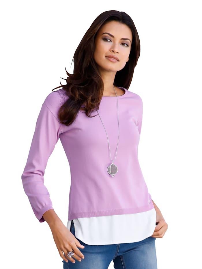Pullover mit Webeinsatz am Saum