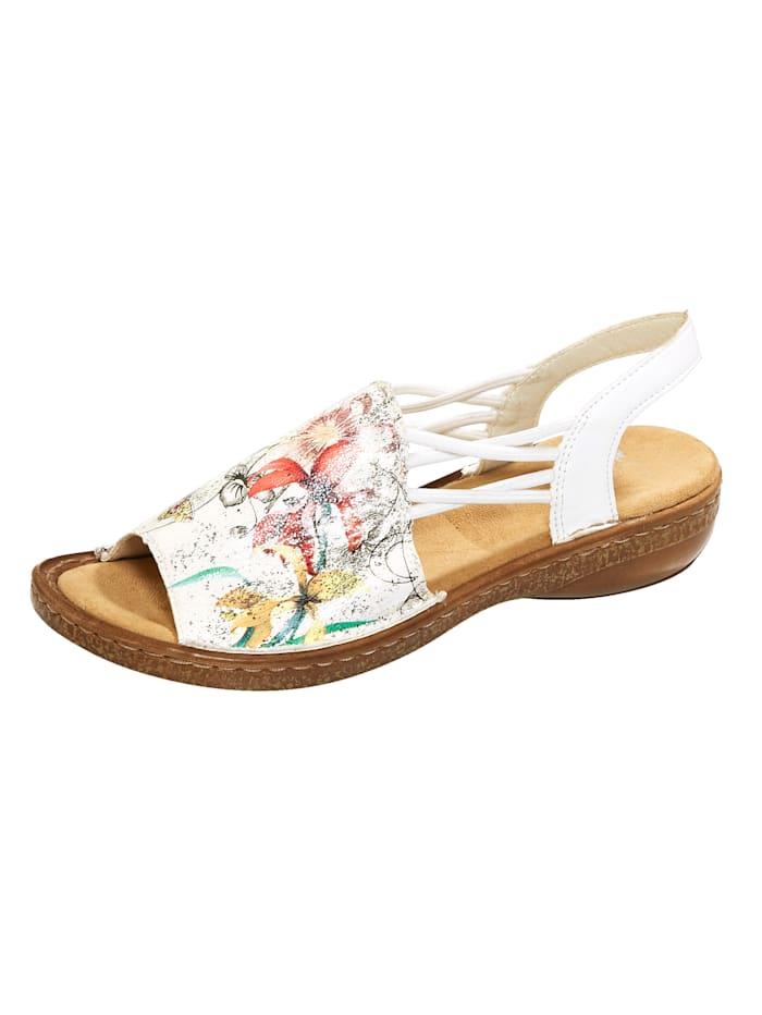Rieker Sandale mit gekreuzten Gummibändern, Multicolor