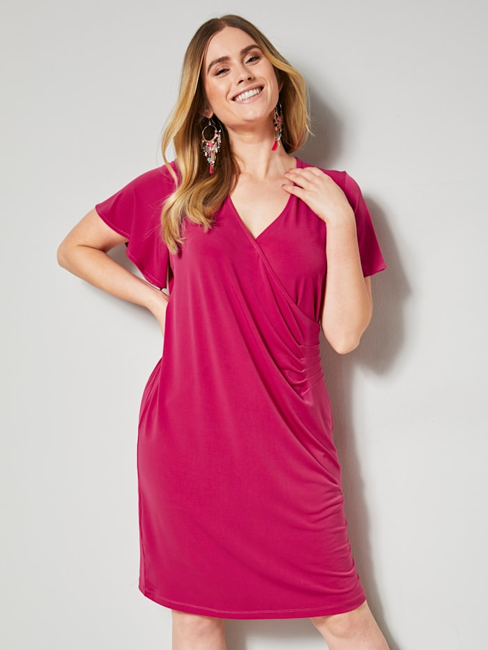 Sara Lindholm Jerseykjole med rynking, Pink
