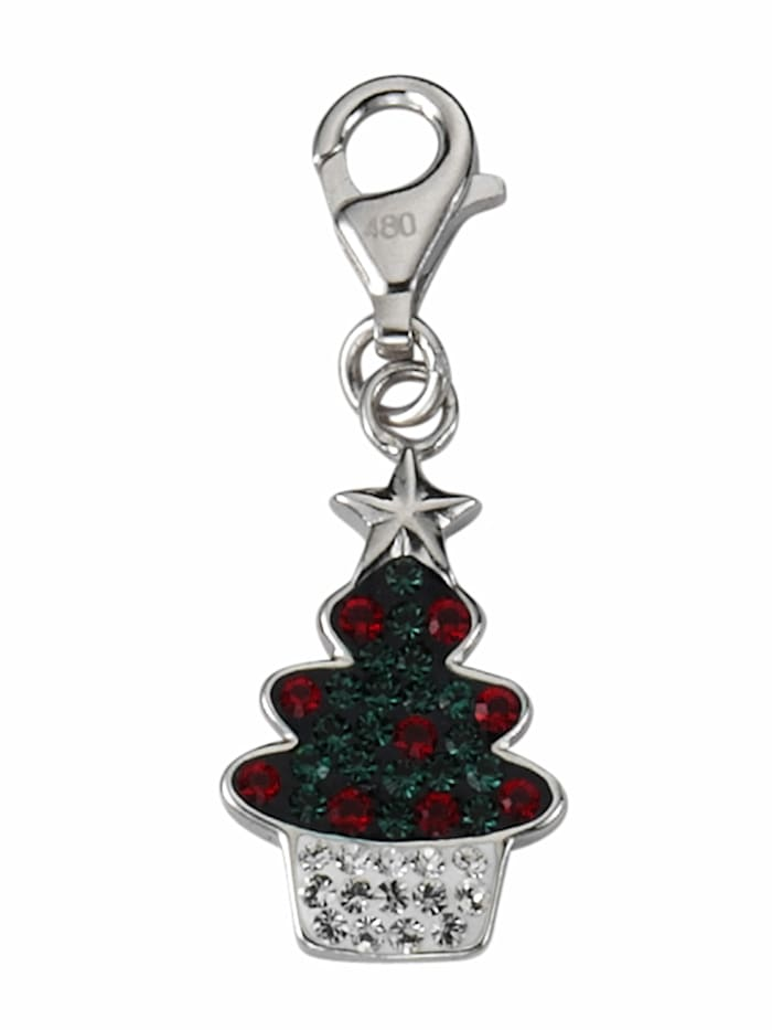1001 Diamonds 1001 Diamonds Damen Silberschmuck 925 Silber Charms Anhänger Baum mit Glasstein, bunt/multi