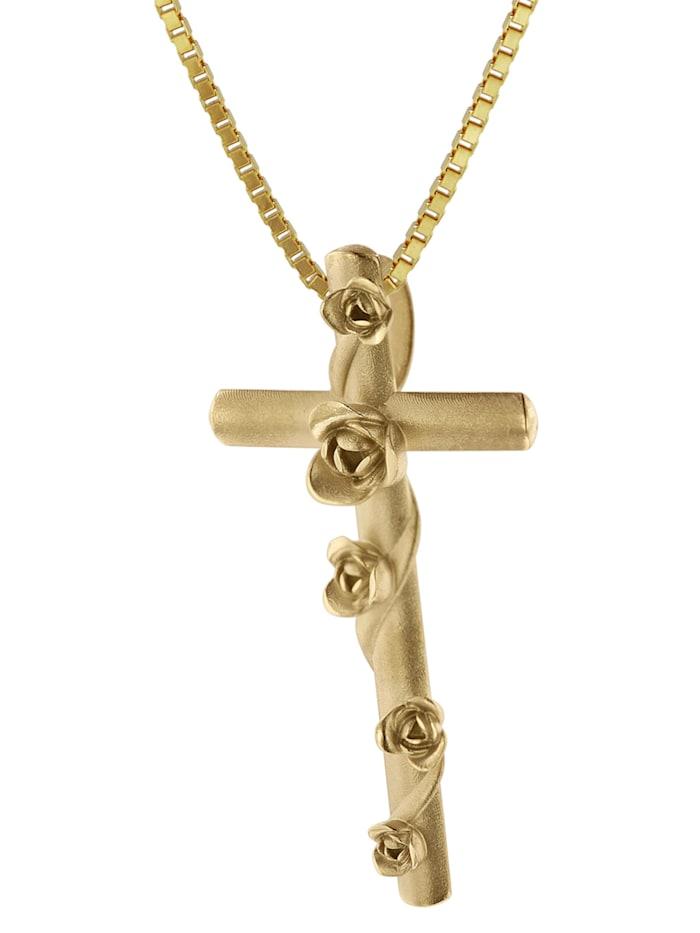 trendor Kreuz-Anhänger Rosenkreuz 333 Gold + goldplattierte Halskette, Goldfarben