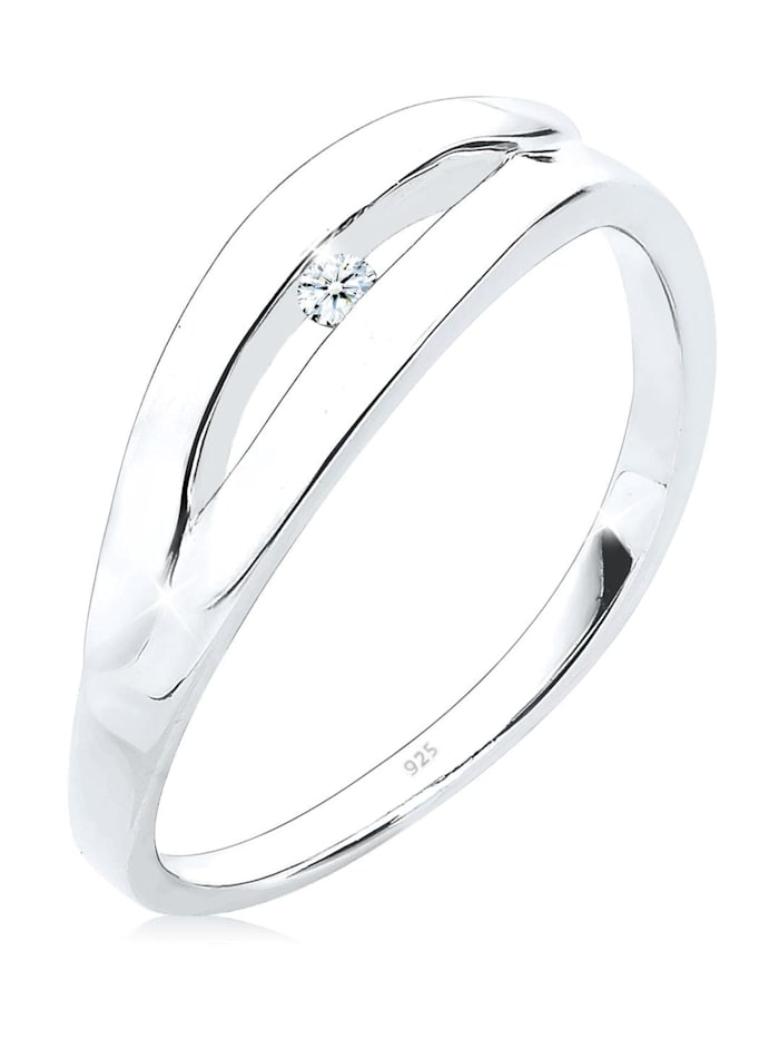 DIAMORE Ring Klassisch Verlobung Diamant 0.03 Ct. 925 Silber, Weiß
