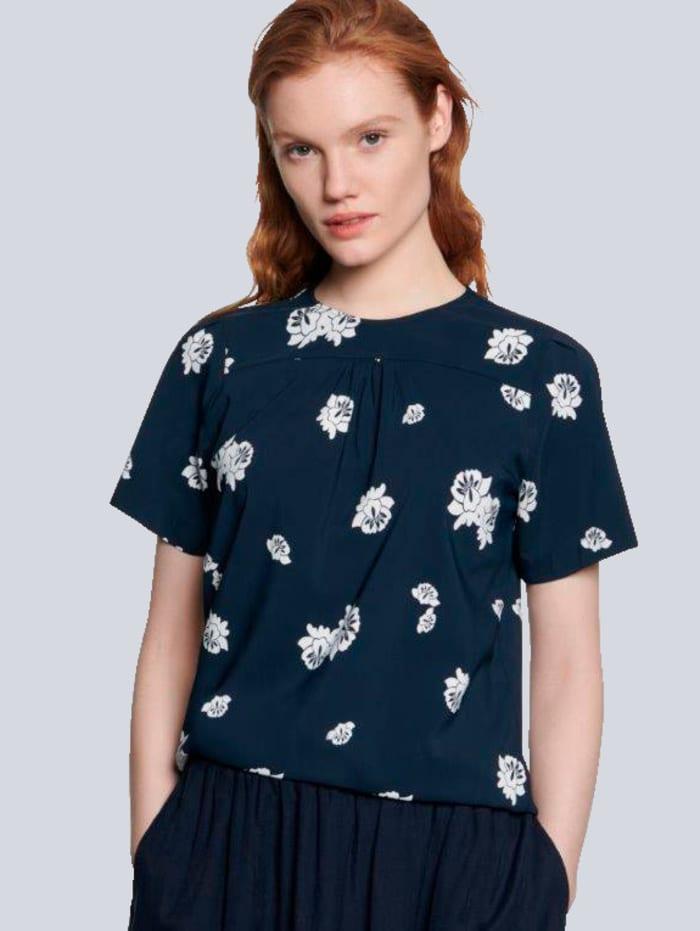Seidensticker Schwarze Rose Bluse im floralem Allover-Muster, Marineblau
