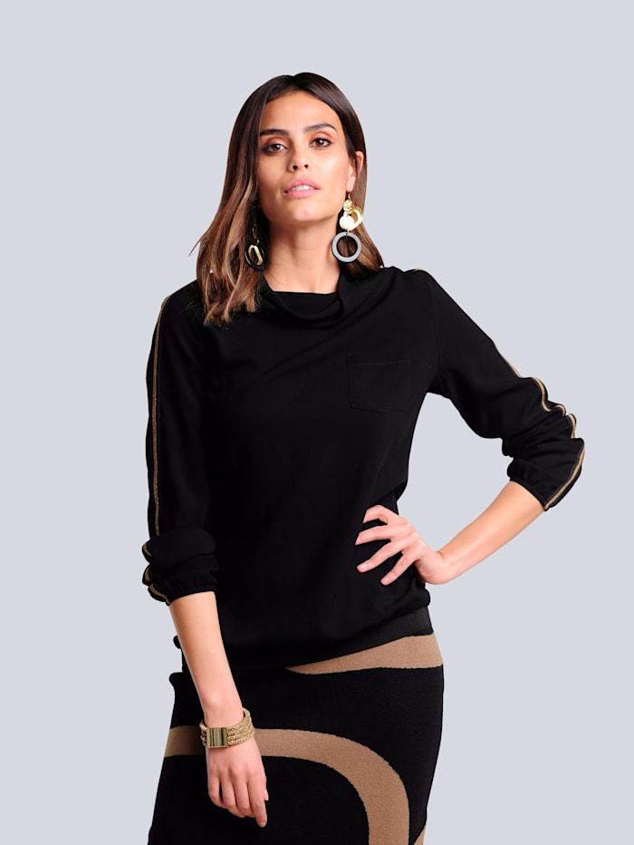 Alba Moda Shirt met contrastkleurig tape op de mouwen, Zwart/Cognac