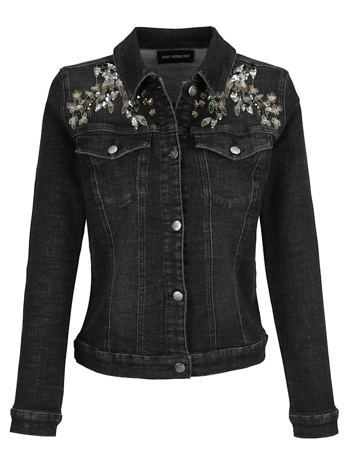 AMY VERMONT Jeansjacke mit Stickerei und Paillettendekoration, Black