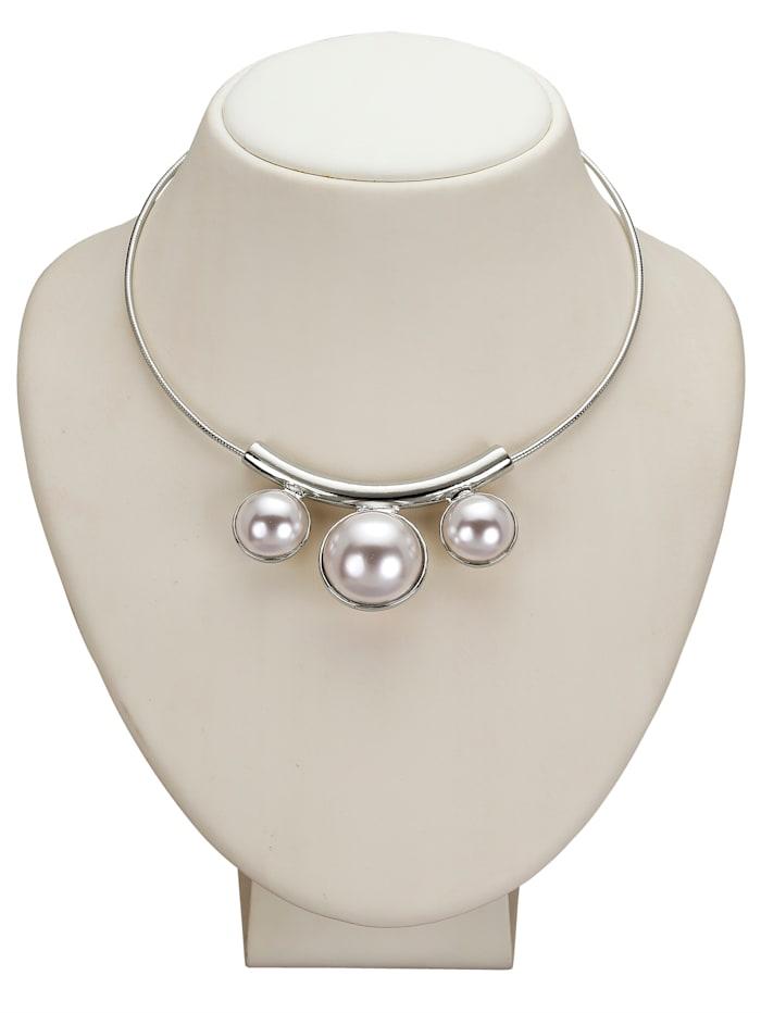 Collier à perles fantaisie, Blanc