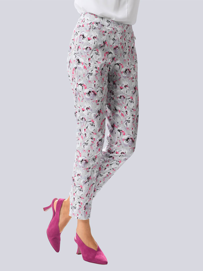 Alba Moda Pantalon à motif exclusif Alba Moda, Gris/Rose vif