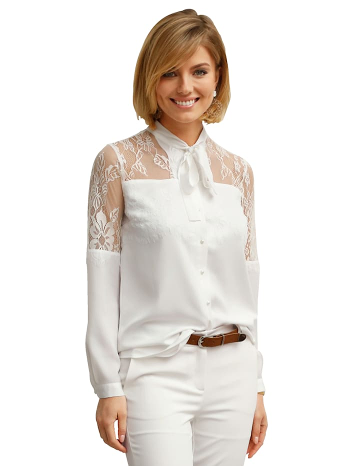 AMY VERMONT Blouse met kant en knoopjes, Offwhite