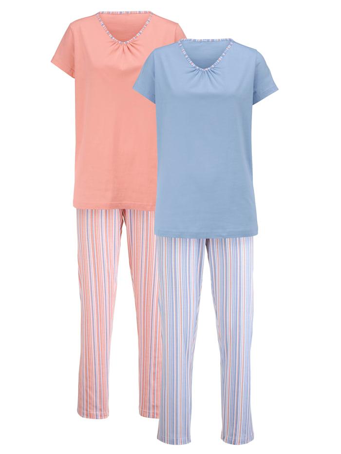 Blue Moon Schlafanzug im zeitlosem Streifen-Dessin, Koralle/Blau/Ecru