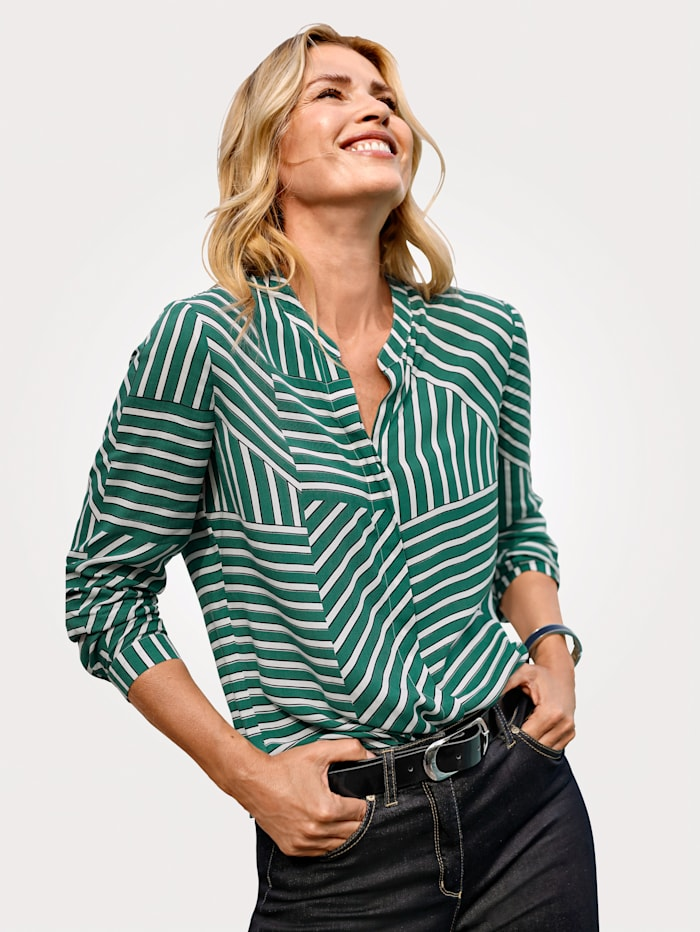 MONA Bluse mit effektvollem Streifendessin, Grün/Weiß