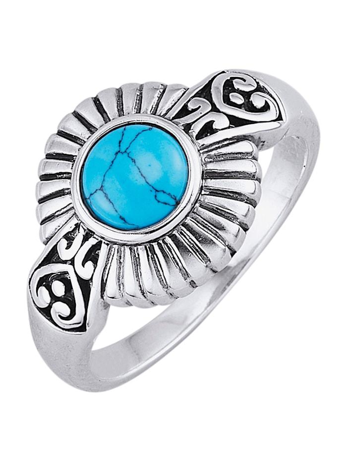 Naisten hopeasormus jäljitelmäturkoosilla, Sininen