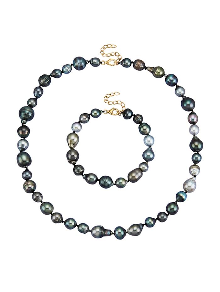 Diemer Perle 2tlg. Schmuck-Set mit Tahiti-Zuchtperlen, Grau