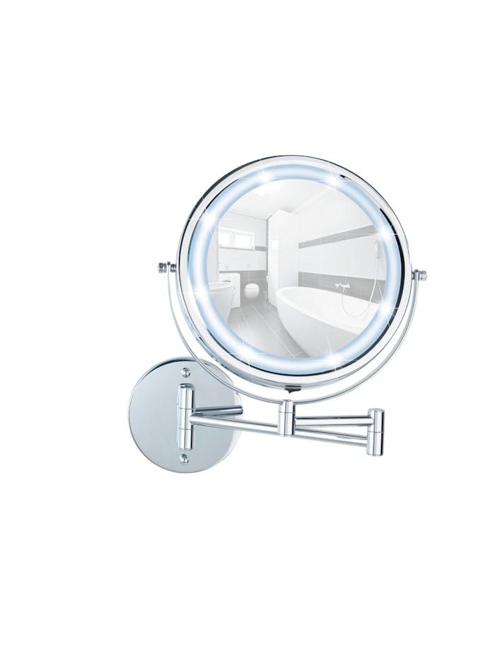 Wenko Power-Loc® LED Wandspiegel Lumi, 5-fach Vergrößerung, Befestigen ohne bohren, Chrom