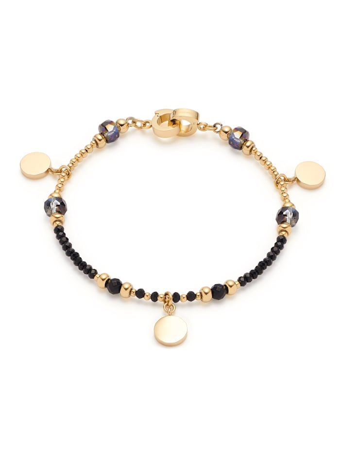 Leonardo Damen-Armband Cesira Edelstahl schwarz/gold, Goldfarben