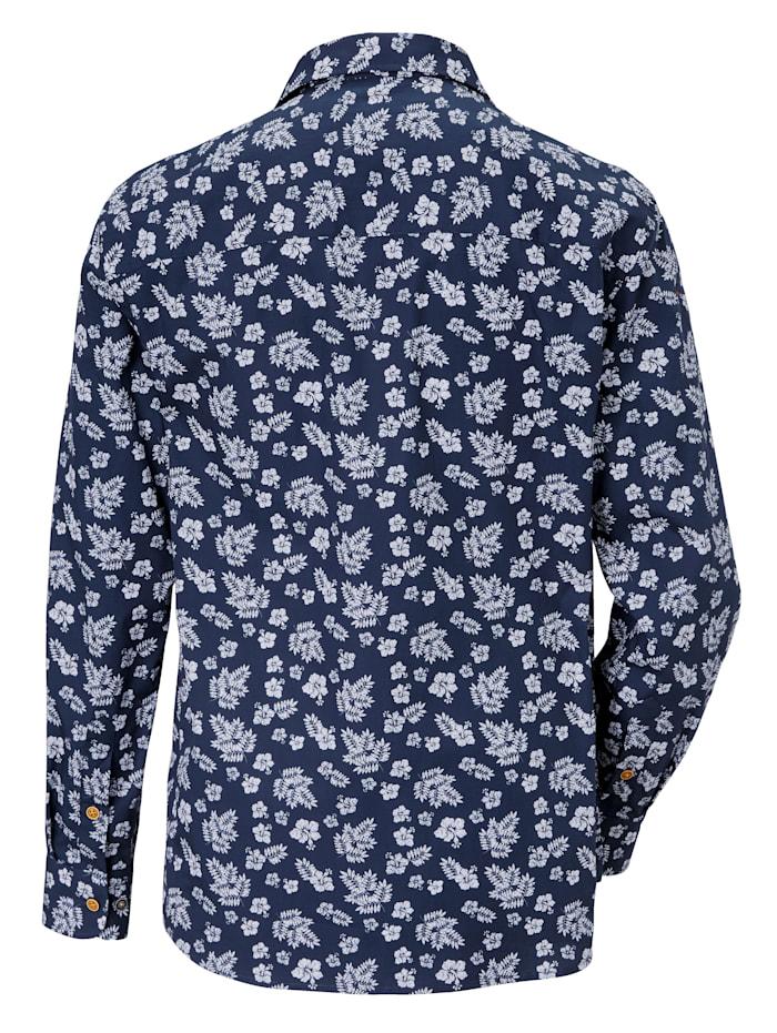 Mönstrad skjorta med enfärgade detaljer