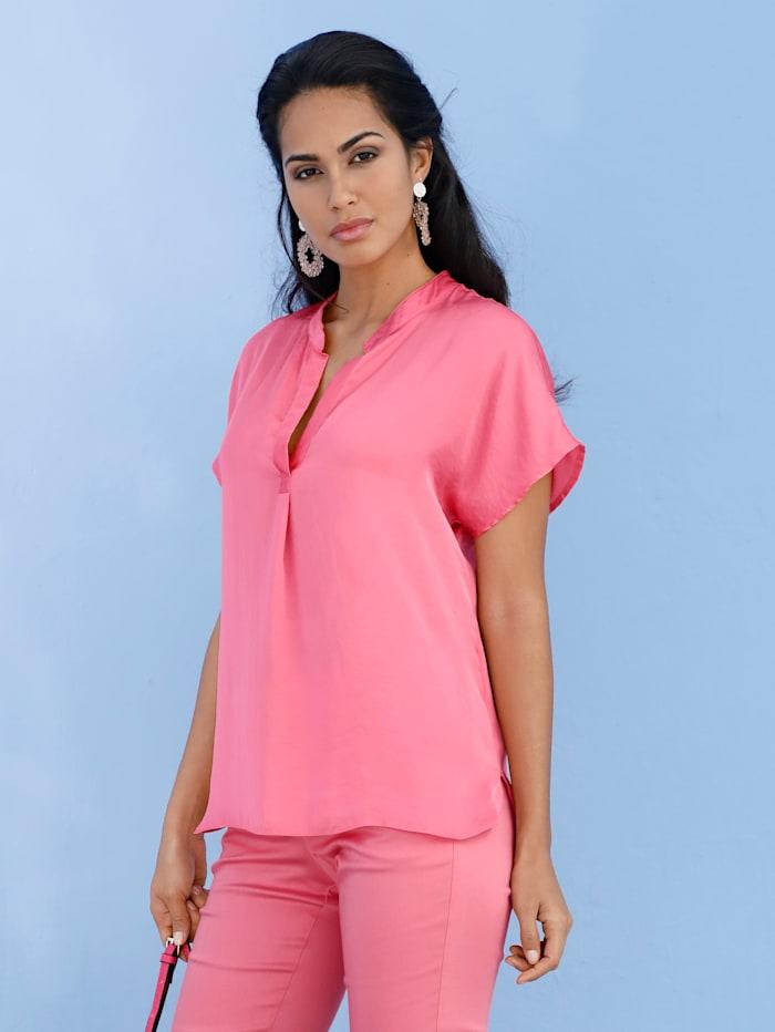 AMY VERMONT Bluse mit gelegter Falte im Vorderteil, Pink