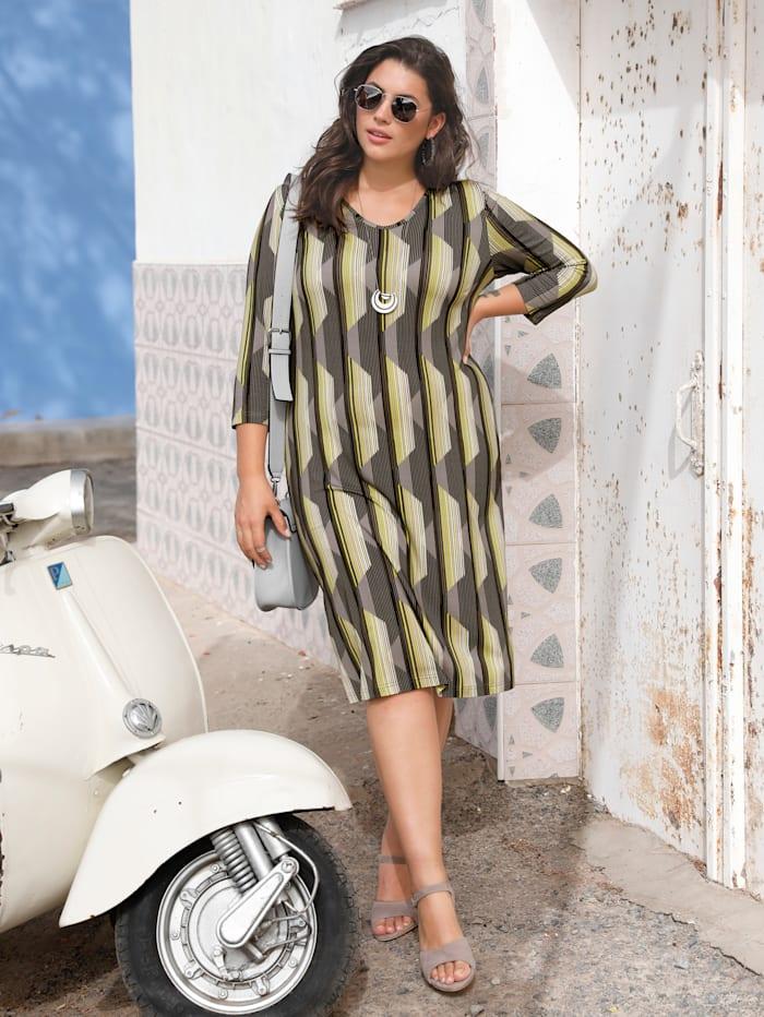 MIAMODA Kleid mit streckendem V-Ausschnitt, Grau/Grün/Weiß