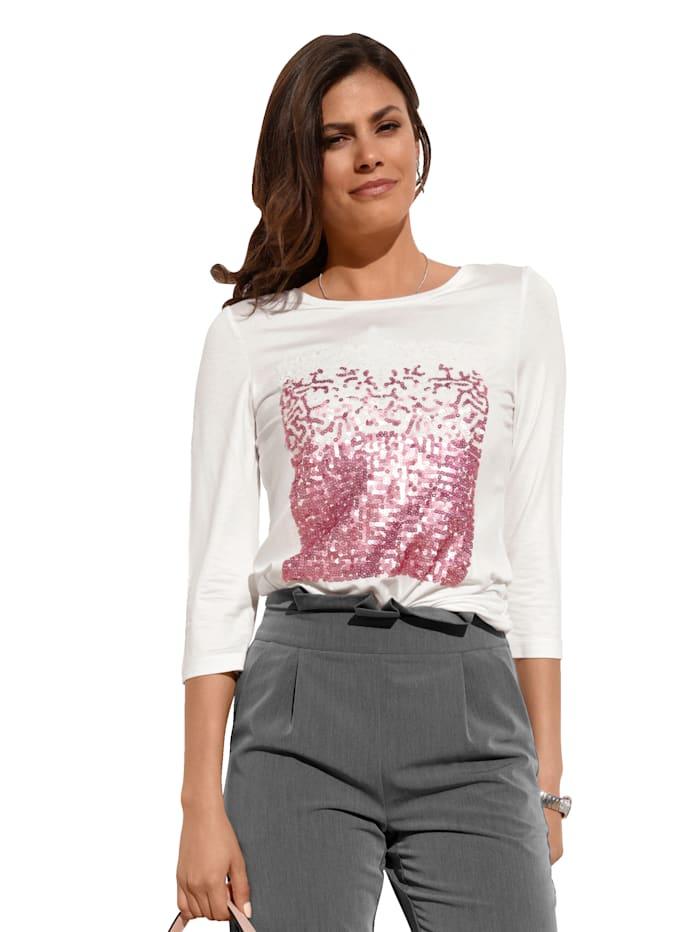 AMY VERMONT Shirt mit Pailletten im Vorderteil, Off-white