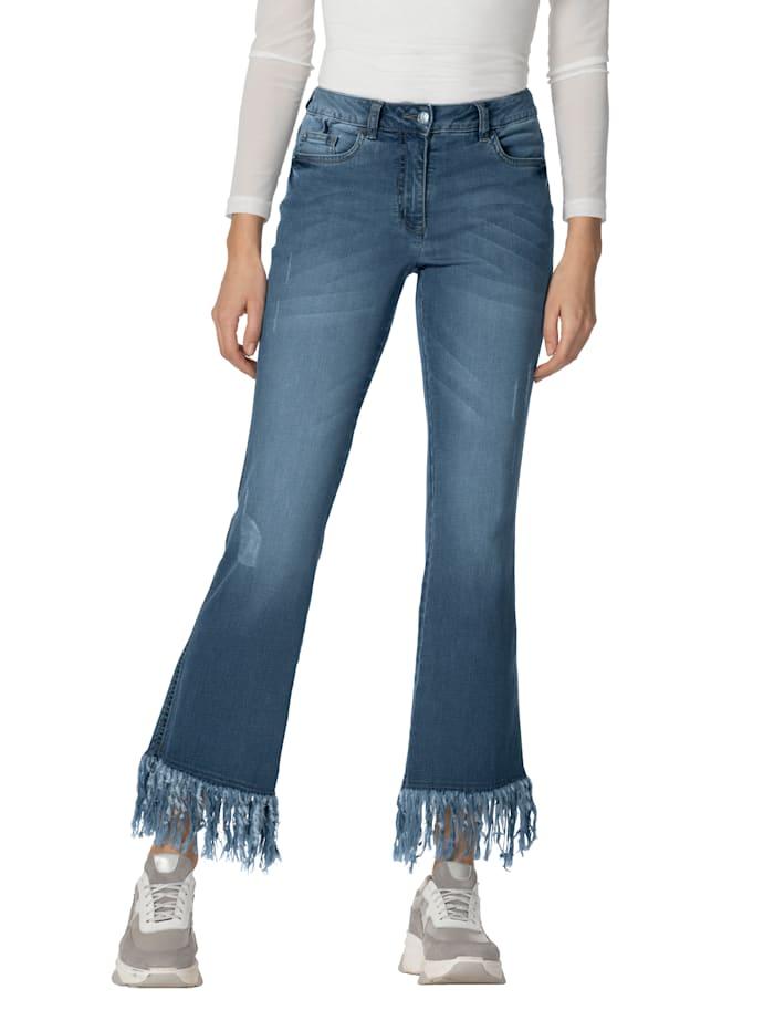 AMY VERMONT Jeans met franjes aan de zoom, Blue bleached