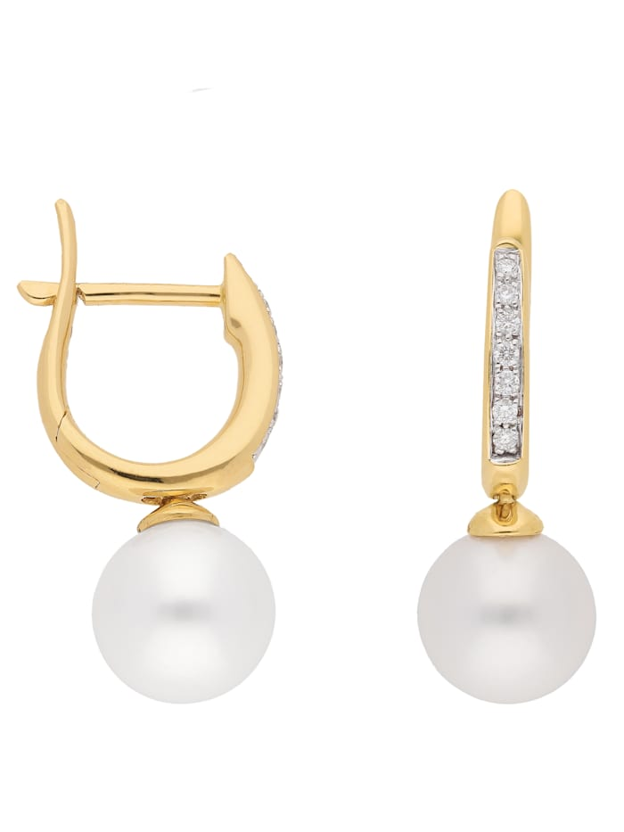 1001 Diamonds 1001 Diamonds Damen Goldschmuck 585 Gold Ohrringe / Creolen mit Süßwasser Zuchtperle Ø 11 mm, gold
