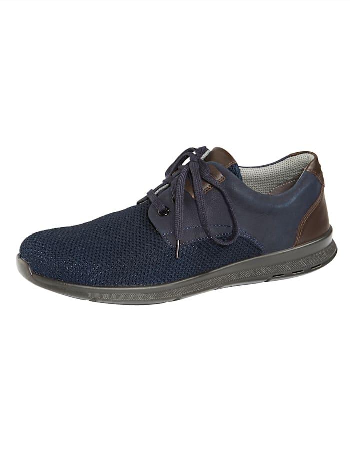 Naturläufer Schnürschuh mit Superstretch-Textil, Braun/Marineblau