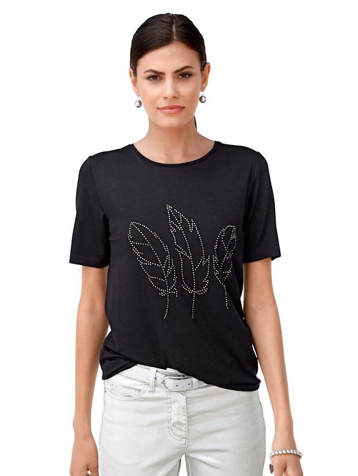 AMY VERMONT Shirt mit Strasssteinen, Schwarz